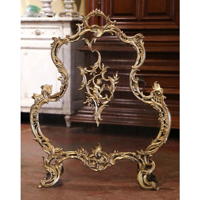 19th Century French Louis XV Bronze Doré Fireplace Screen With Cherub Motif For Sale - Image 9 of 9
