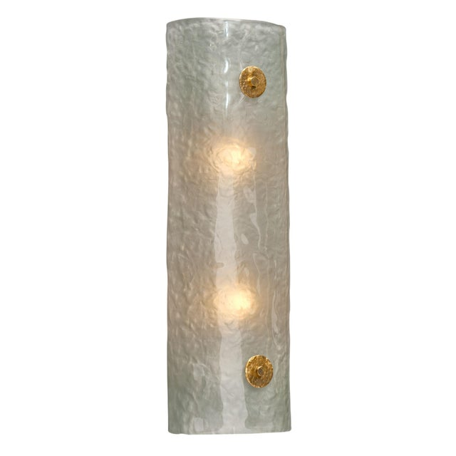 Frosted Light Blue Murano Glass Sconces For Sale In Austin - Image 6 of 10