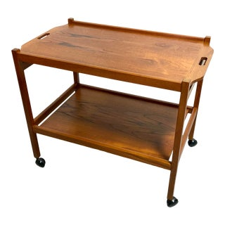 Mid Century Danish Modern Solid Teak Bar Cart For Sale