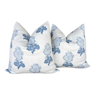 Aldith by Thibaut Block Print in Blue Pillow Covers- a Pair For Sale