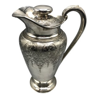 1920s Wilcox Paisley Pattern Silver Plated Water, Tea, Cocktail Pitcher For Sale