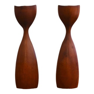 Danish Teak Candlestick Holders- a Pair For Sale
