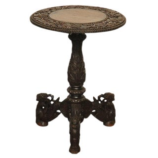 Asian Antique Hand Carved Burmese Occasional Table For Sale