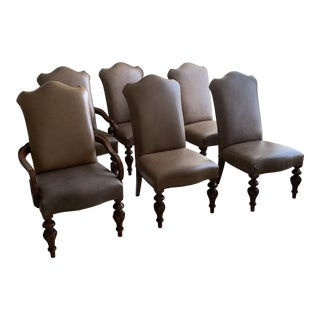 Leather Dining Room Chairs - Set of 6 For Sale