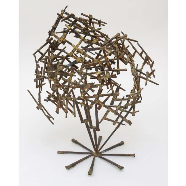 Brutalist One Of A Kind Brutalist Abstract Nail Tabletop Globe Sculpture For Sale - Image 3 of 10