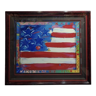 "Peter Max ""US Flag With Hearts"" Original Serigraph For Sale"
