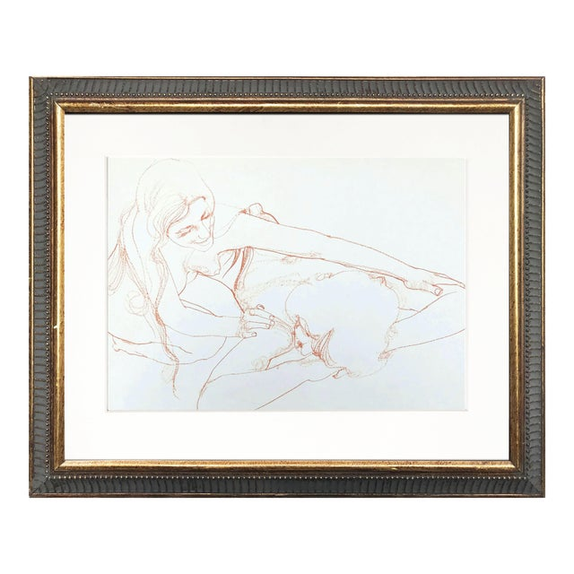 Vintage Bohemian Sanguine Drawing of Nude Couple For Sale