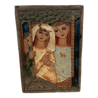 Mid Century Modern Ruth Faktor Ceramic Plaque For Sale
