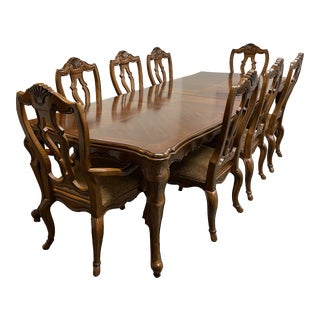 Bernhardt French Provincial Extension Table + Eight Chairs Set For Sale