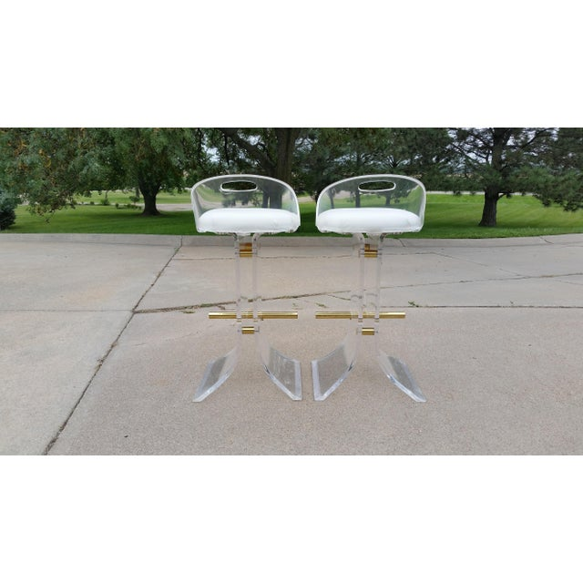 Vintage Charles Hollis Jones Style Lucite Stools - a Pair For Sale - Image 10 of 11