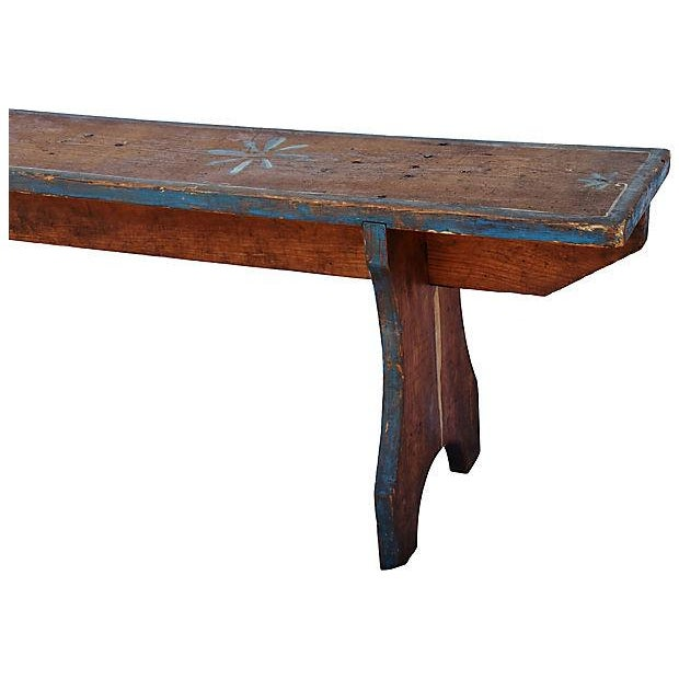 Early 20th Century 1930s Hand-Painted Farmhouse Country Bench For Sale - Image 5 of 13