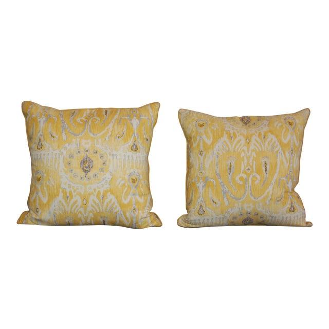Yellow Ikat Throw Pillows - A Pair - Image 1 of 6