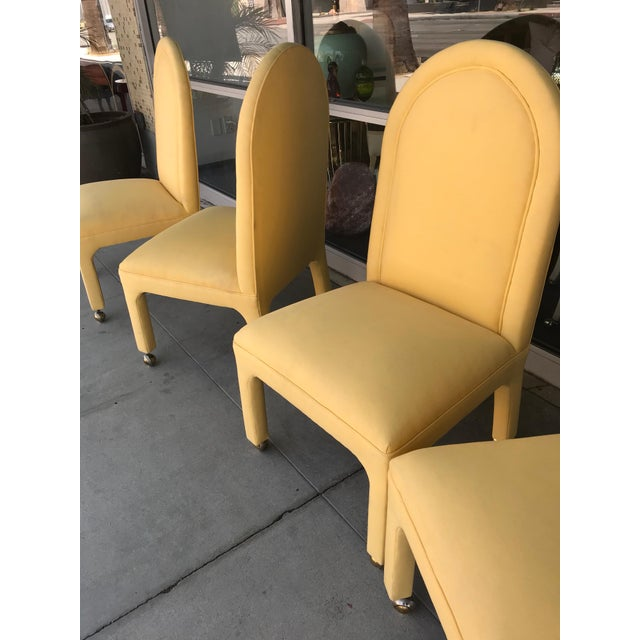 Hollywood Regency Indoor or Outdoor Dining Chairs in Yellow Sunbrella Fabric - Set of 4 For Sale - Image 4 of 5