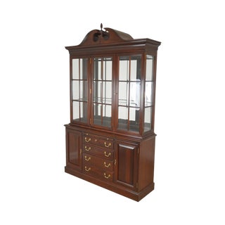 Lexington Chippendale Style Heirloom Solid Mahogany China Cabinet Top Buffet For Sale