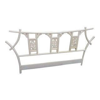 Pagoda Queen Size White Wood Headboard