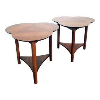Mid Century Walnut Clover Side Tables - Set of 2