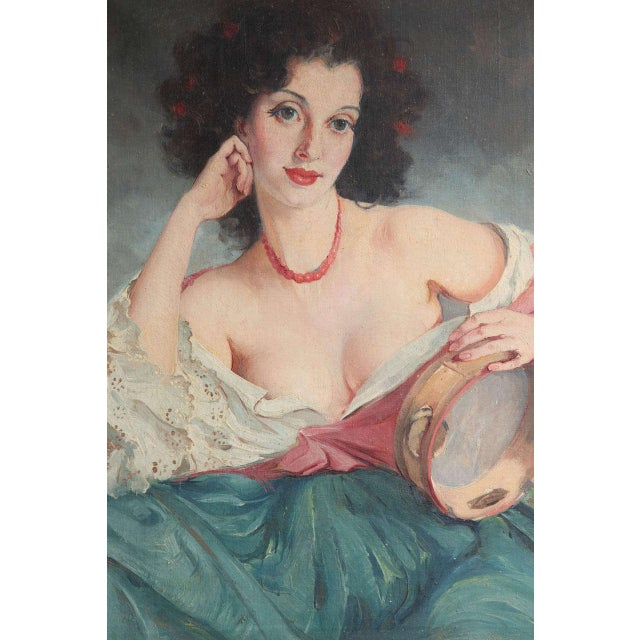 """Maria Szantho (Hungarian, 1898-1984).""""Woman with tambourine,"""" oil on canvas, circa 1935, signed lower right. Measures: H..."""