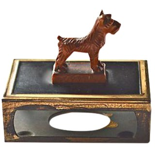 Scotty Dog Celluloid & Brass Matchbox Holder