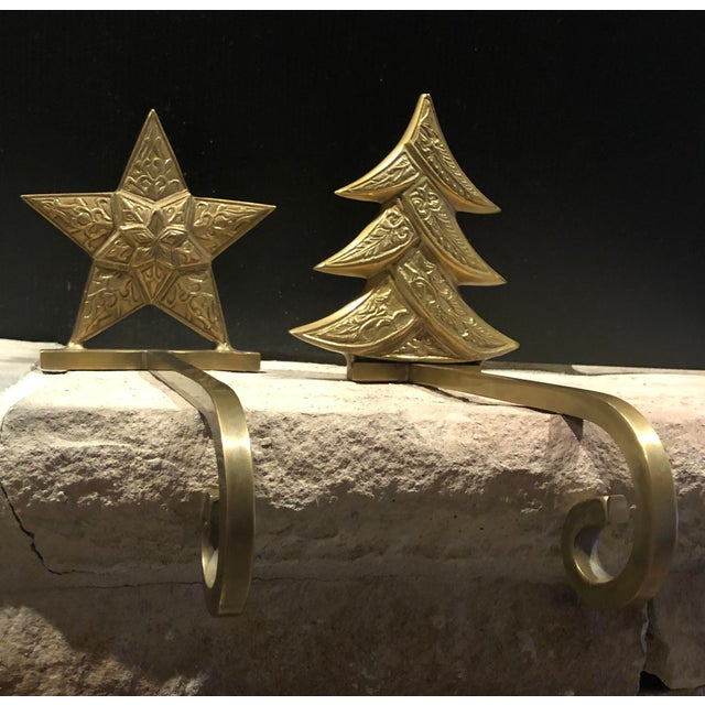 Vintage Antiqued Brass Stocking Hangers Tree & Star - a Pair For Sale In Phoenix - Image 6 of 9