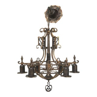 Antiques Arts & Craft Style Brass Chandelier For Sale