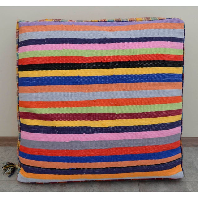 Turkish Hand Woven Kilim Floor Cushion - 30″ X 30″ - Image 6 of 10