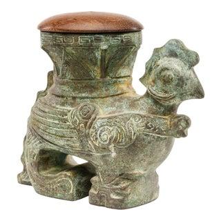 Lawrence & Scott Verdigris Bronze Rooster Box Vase For Sale