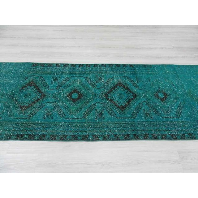 Turquoise Runner Rug: Vintage Turkish Turquoise Blue Overdyed Runner Rug