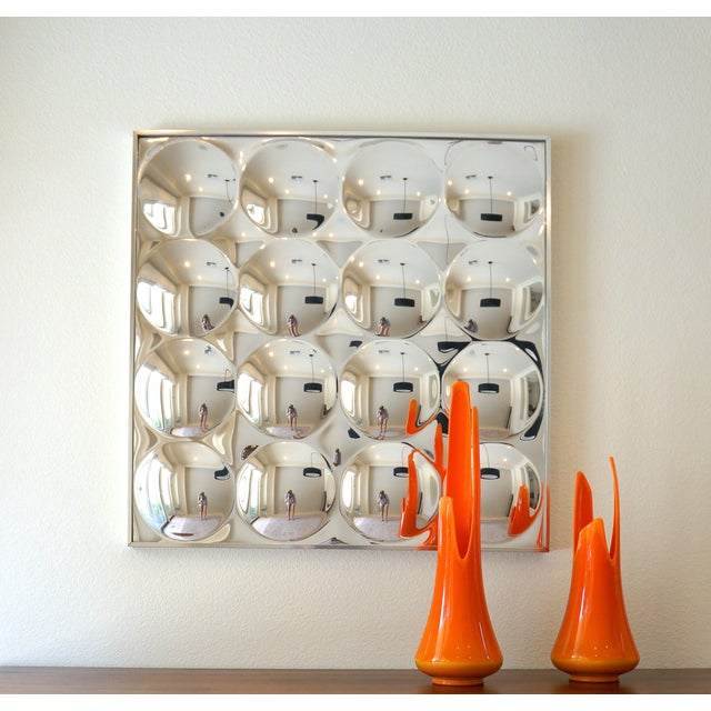Vintage 1970's Op Art 16 Bubble Convex Wall Mirror For Sale - Image 5 of 5