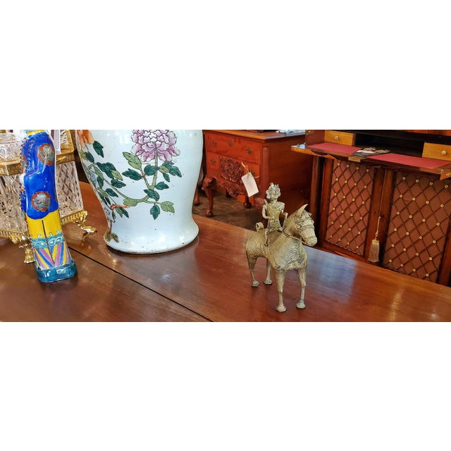 Late 19th Century Antique Indian Dhokra Horse and Rider Sculpture For Sale - Image 5 of 11