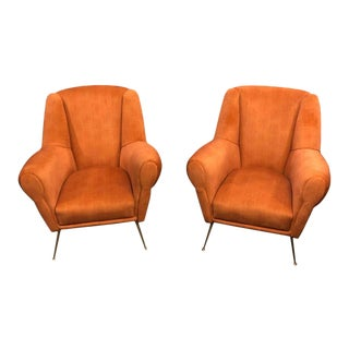 1960s Mid-Century Modern Brass and Orange Velvet Armchairs- a Pair For Sale