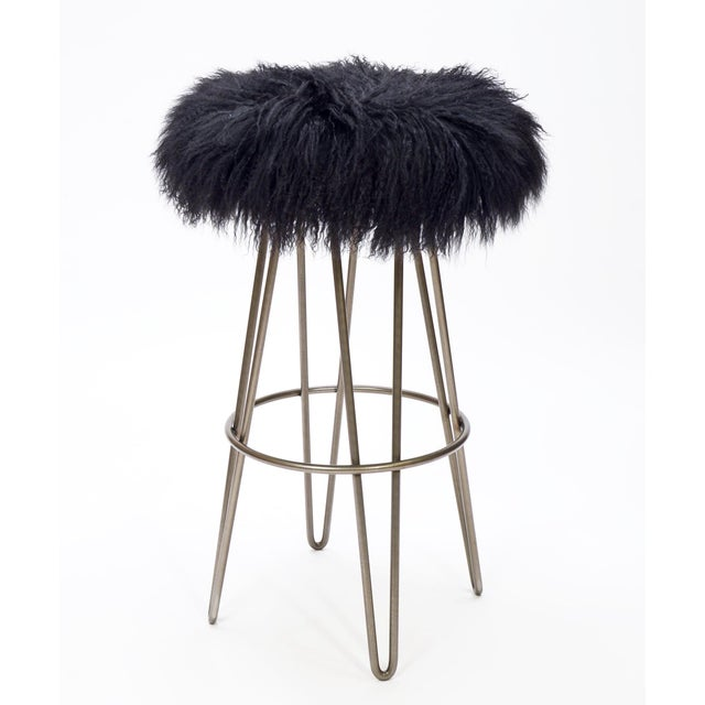 Modern Curly Black Hairpin Swivel Barstool For Sale - Image 3 of 3