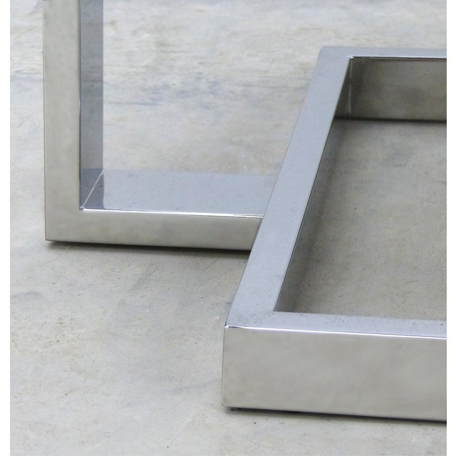 Metal La Spada & Mazza for Medea, Side Table in Palisander Wood and Chrome Italy For Sale - Image 7 of 9