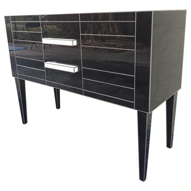 New Chest of Drawers in Black Mirror and Aluminium With White Glass Handle For Sale - Image 11 of 11