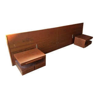 Mid Century Modern Danish Teak Bedframe and Floating Nightstands
