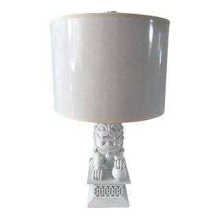 Barbara Cosgrove Mini White Foo Dog Ceramic Table Lamp For Sale