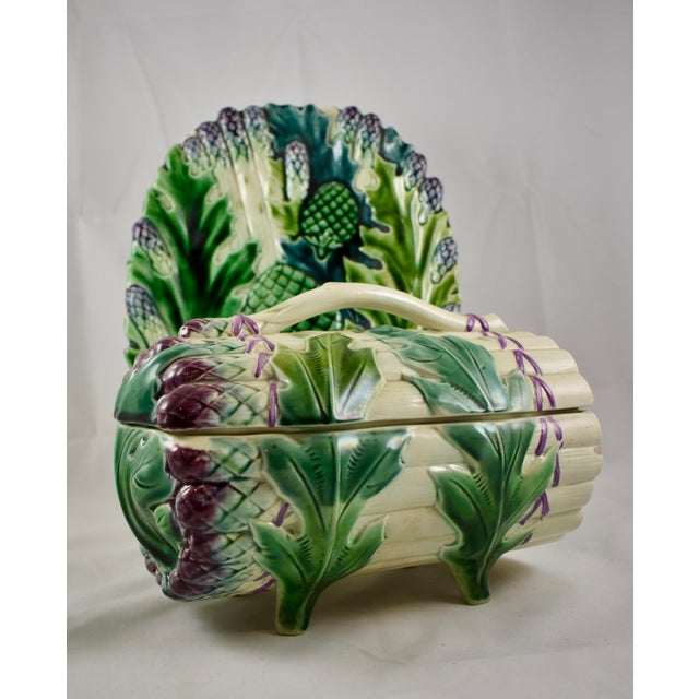 Luneville French Faïence Majolica Asparagus Tureen & Under Tray, 3 pcs. For Sale In Philadelphia - Image 6 of 11
