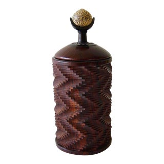 Jon Sauer California Modern Studio Exotic Woods Betel Nut Lidded Box For Sale
