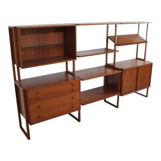 1960s Mid Century Modern Modular Teak Shelving Unit For Sale