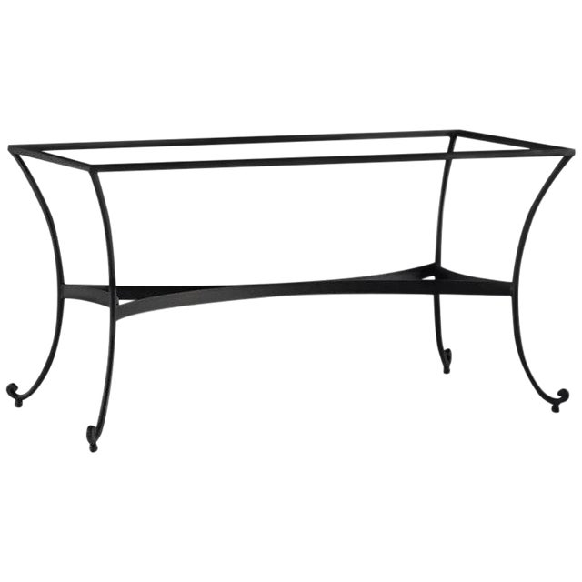 Patio or Garden Dining Room Table in Wrought Iron With Glass Top For Sale