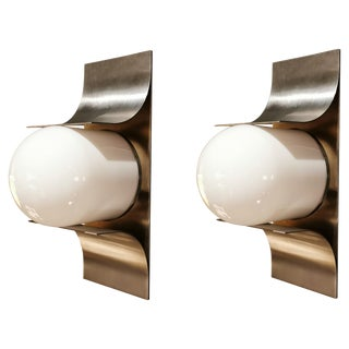 Jordi Vilanova Pair of Stainless Steel Sconces, Spain, 1960s For Sale