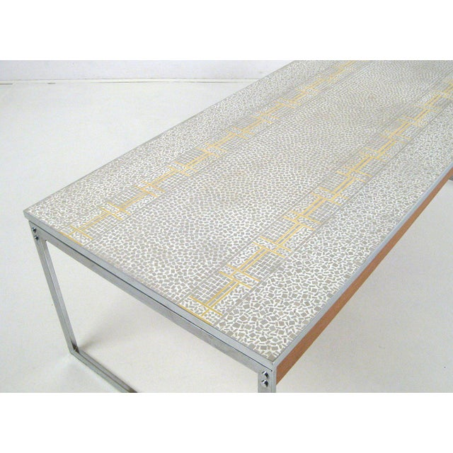 1960s Mid-Century Modern Chrome and Mosaic Coffee Table For Sale - Image 9 of 10