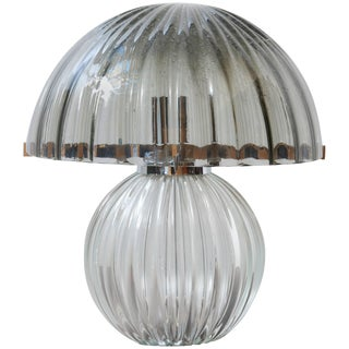 1970s Italian Murano Smoked Glass Mushroom Table Lamp For Sale
