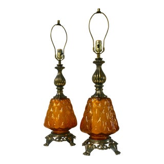1970s Amber Glass Nightlight Table Lamps - a Pair For Sale