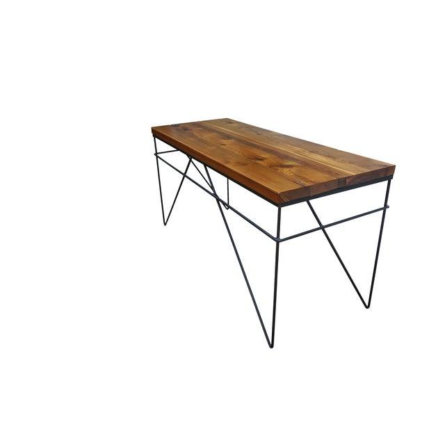 Modern Industrial Steel & Cedar Desk - Image 3 of 8