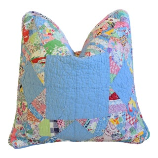 "American Patchwork Quilt Feather/Down Pillow 18"" Square For Sale"