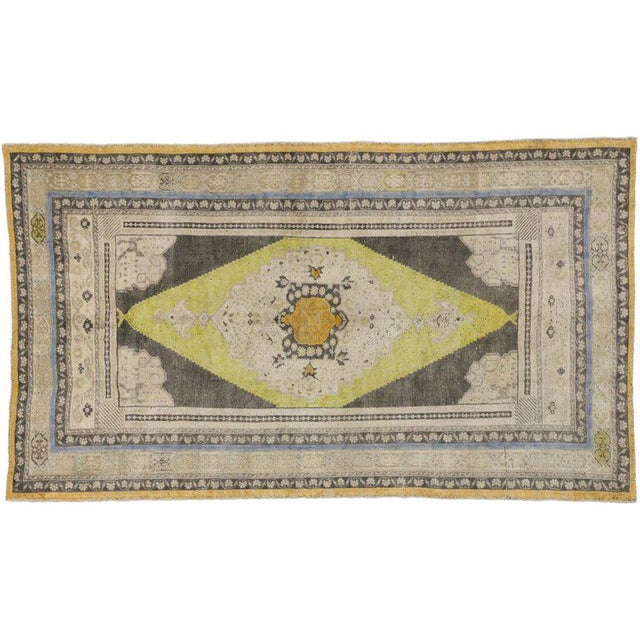 Vintage Mid-Century Turkish Oushak Area Rug - 5′1″ × 8′10″ For Sale In Dallas - Image 6 of 7