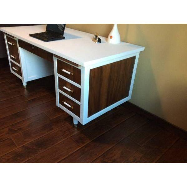 Bianca Mid Century Modern White & Walnut Desk - Image 3 of 4