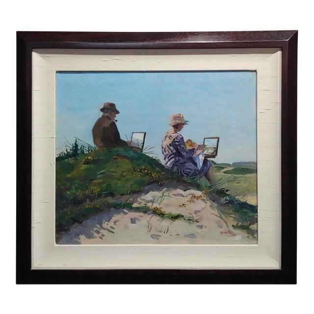 Henri Vos -Two Artists on the Dunes -Impressionist -Oil Painting C1910s For Sale