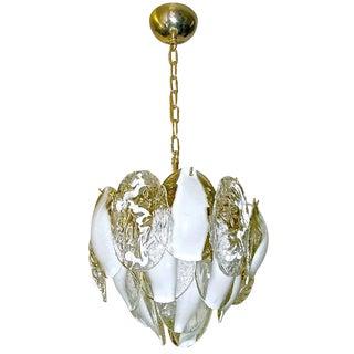 Mazzega Murano Clear White Art Glass Chandelier