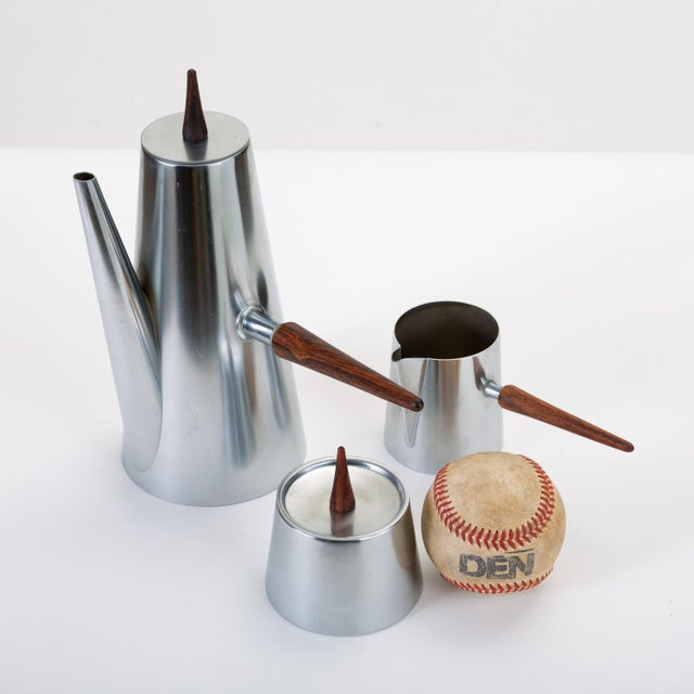 Mid-Century Modern Italian Modern Coffee or Tea Service With Rosewood Handles For Sale - Image 3 of 13
